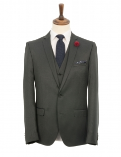 Slim Fit Birdseye 3 Piece Suit - Charcoal