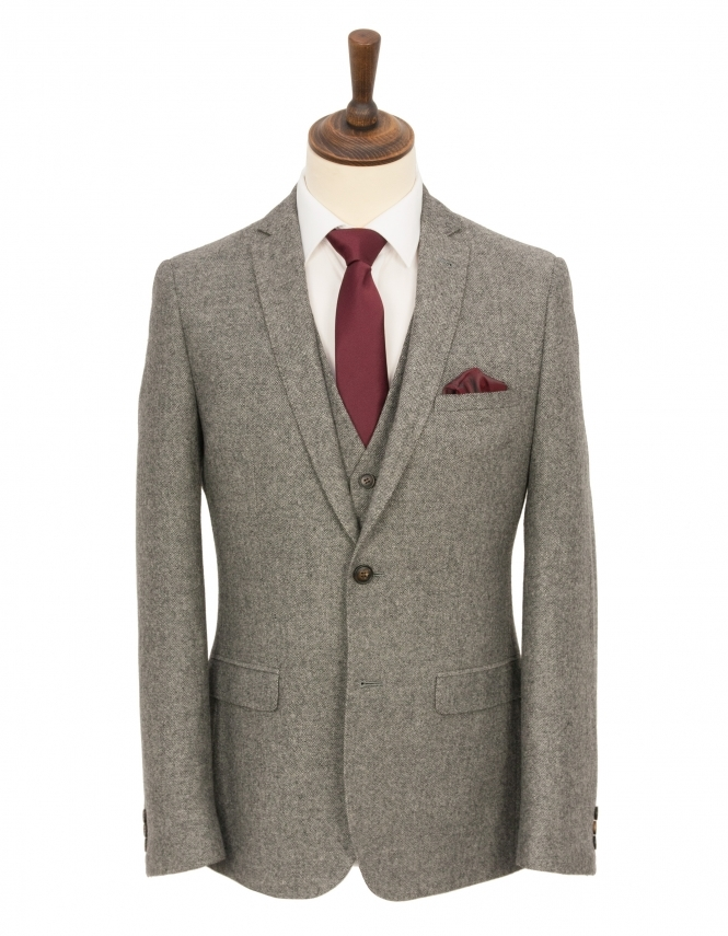 Harry Brown Slim Fit Donegal 3 Piece Suit - Grey