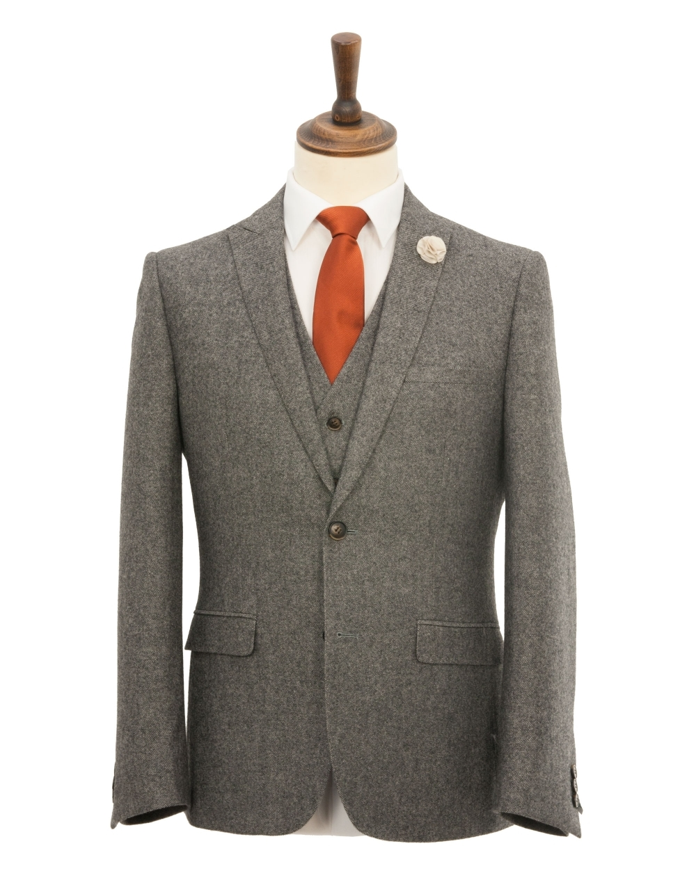Slim Fit Peak Lapel Donegal Tweed 3 Piece Suit Grey Fields Menswear