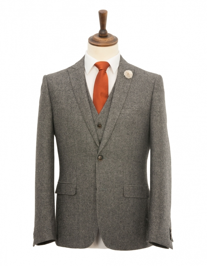 Harry Brown Slim Fit Peak Lapel Donegal Tweed 3 Piece Suit - Grey