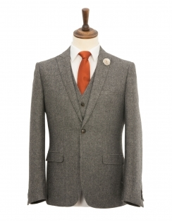 Slim Fit Peak Lapel Donegal Tweed 3 Piece Suit - Grey