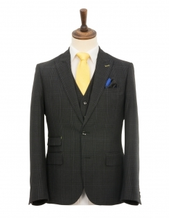 Slim Fit Peak Lapel Wide Check 3 Piece Suit - Charcoal