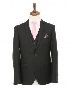 Slim Fit Plain Black Twill 3 Piece Suit