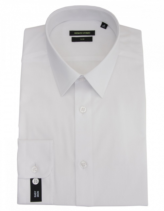 Remus Uomo Slim Fit Plain Shirt - White