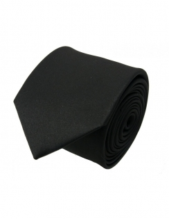 Slim Satin Tie - Black