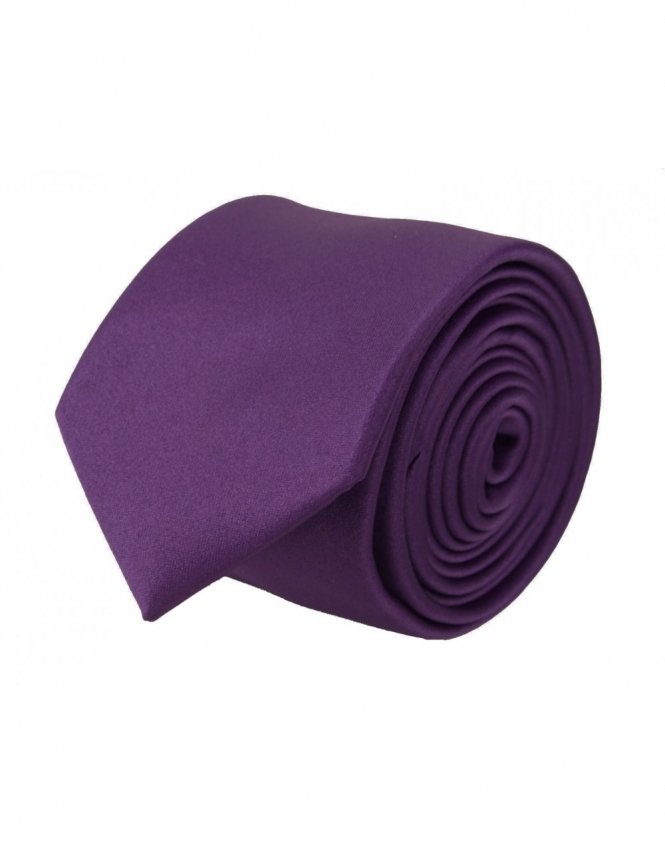 Van Buck Slim Satin Tie - Purple