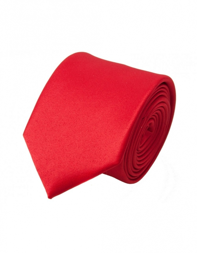 Van Buck Slim Satin Tie - Red