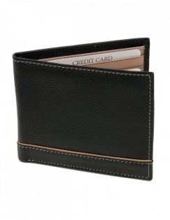 Sophos Black Leather Wallet with Brown Detailing