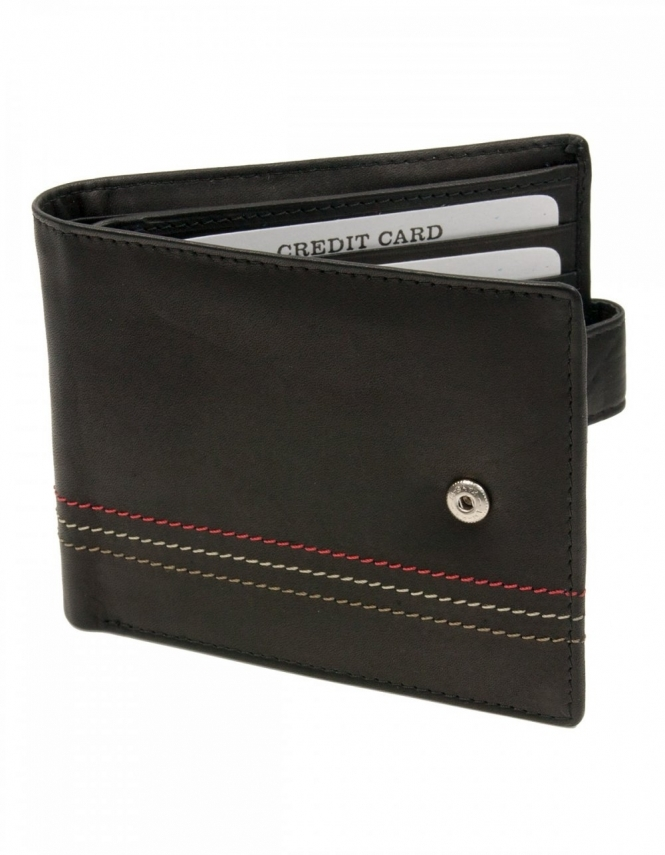 Sophos Dark Brown Leather Wallet with Colour Stitch Detail