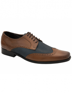 Speary Two Tone Leather Brogues - Tan & Navy