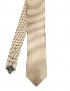Squares & Dots Pure Silk Tie - Camel