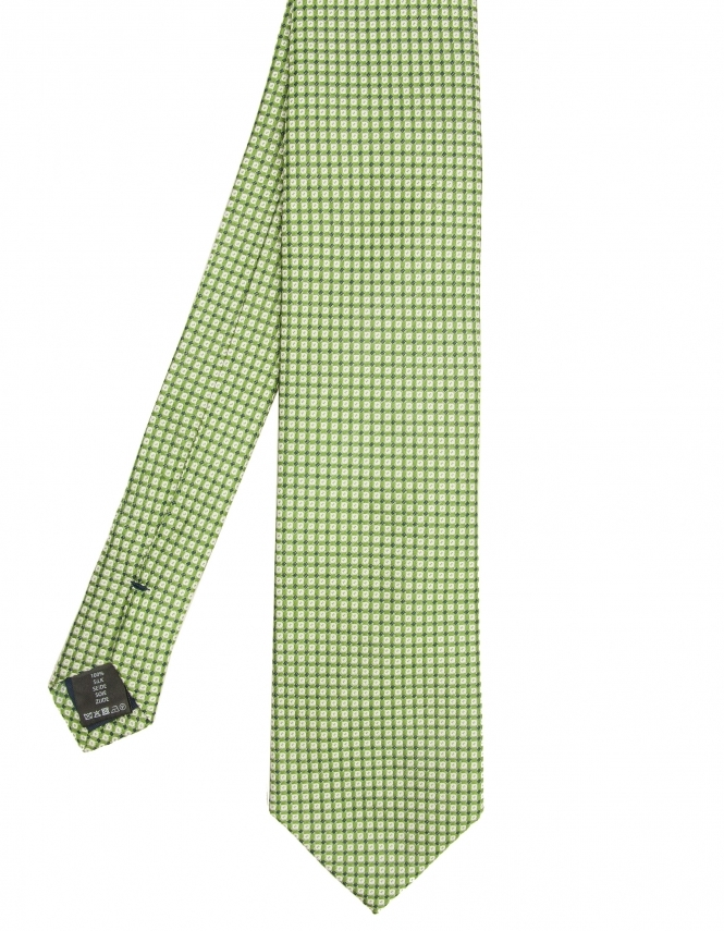 Michaelis Squares & Dots Pure Silk Tie - Green