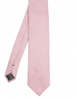 Squares & Dots Pure Silk Tie - Pink