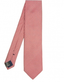 Squares & Dots Pure Silk Tie - Red