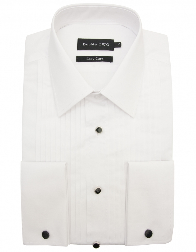 Double Two Stitch Pleat Dress Shirt with Classic Collar