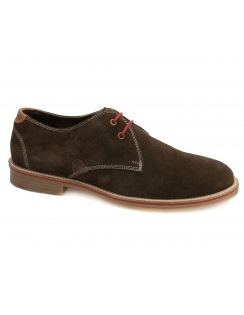 Strada Suede Gibson Lace Shoes - Chocolate