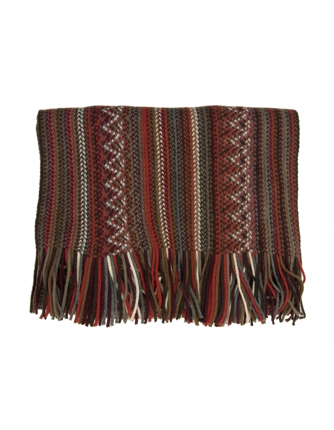 Michaelis Stripe Knitted Scarf - Red