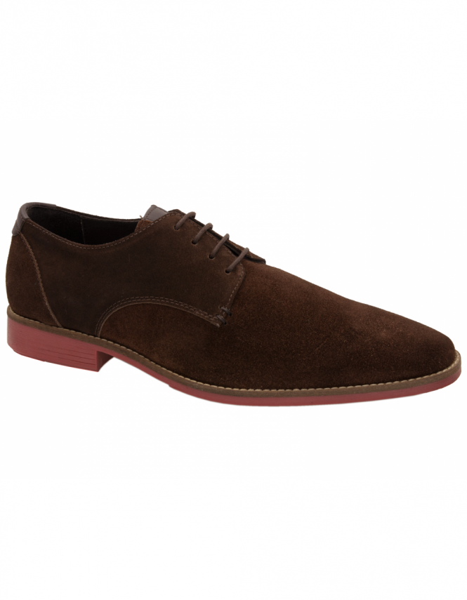 Maybury Sweeny Plain Toe Suede Derby - Chocolate