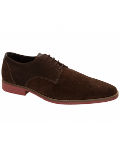 Sweeny Plain Toe Suede Derby - Chocolate