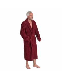 Terry Towel Dressing Gown - Wine
