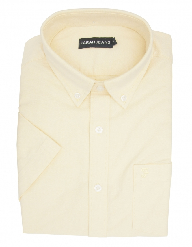 Farah Thompson Stretch Oxford Half Sleeve Shirt - Yellow