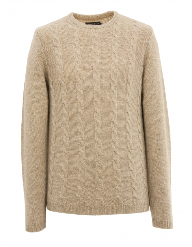 Farah Topley Lambswool Cable Jumper - Beige