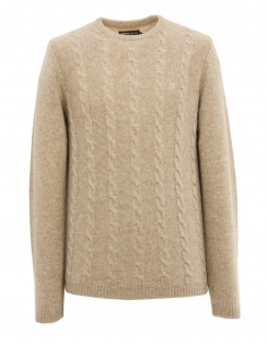 Topley Lambswool Cable Jumper - Beige