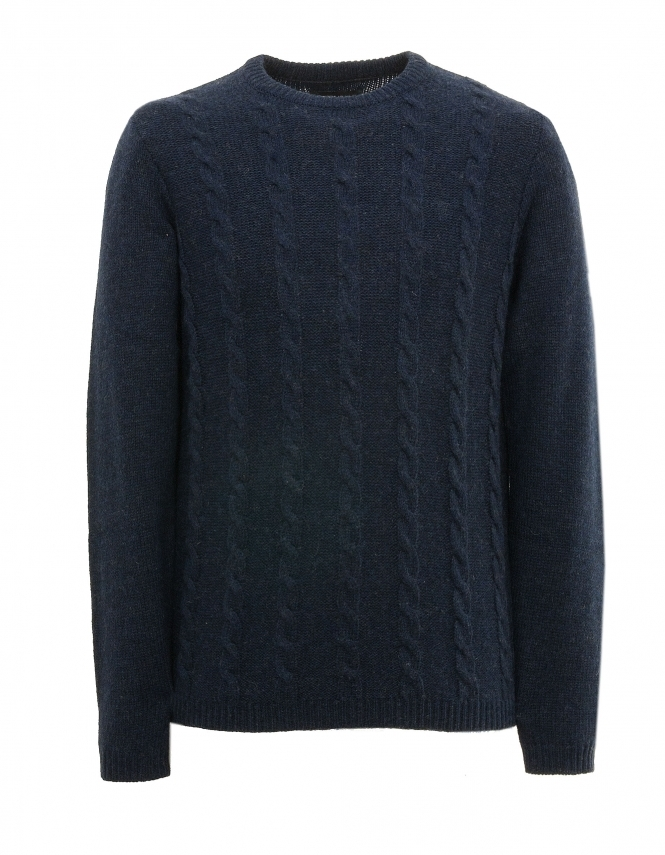 Farah Topley Lambswool Cable Jumper - Navy