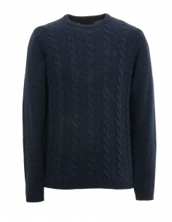 Topley Lambswool Cable Jumper - Navy