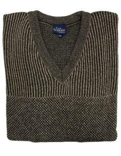 V Neck Jumper - Brown