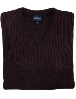 V Neck Jumper - Burgundy