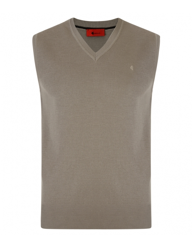 Gabicci V-Neck Wool Blend Slipover - Stone