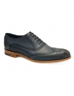 Valiant Hand Painted Leather Brogue - Navy