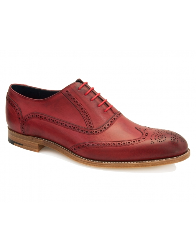 Barker Valiant Hand Painted Leather Brogue - Red