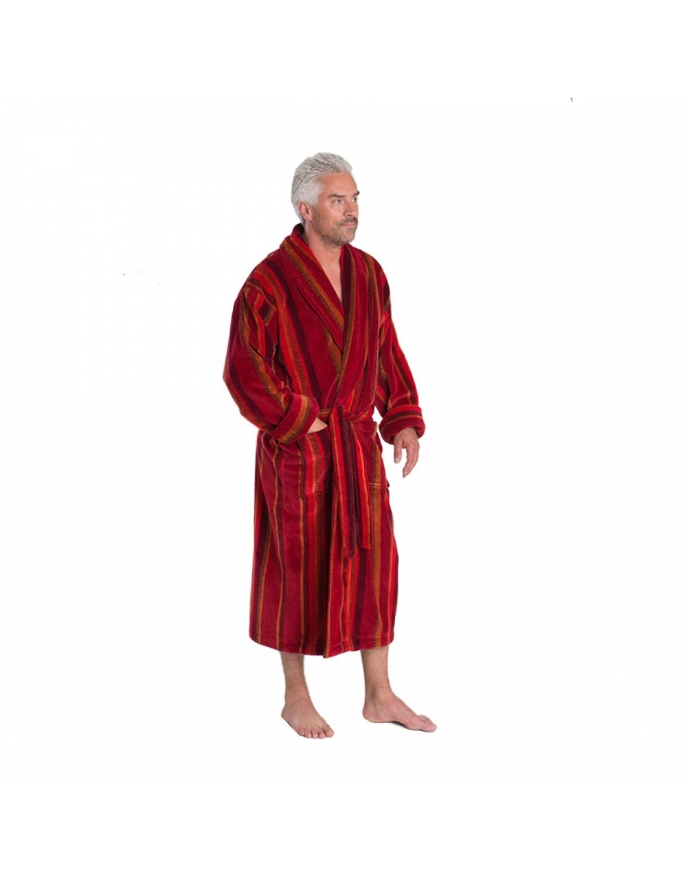 Venezia Luxury Velour Dressing Gown Red Stripe