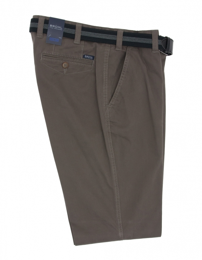 Bruhl Venice B Cotton Chino With Stretch Waistband - Olive