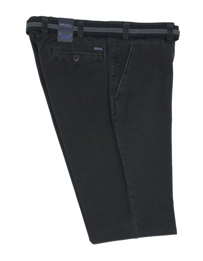 Bruhl Venice Broken Needle Cord Trouser - Black