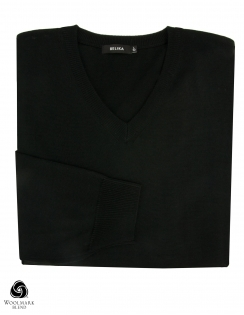Virgin Wool Blend V Neck Jumper - Black
