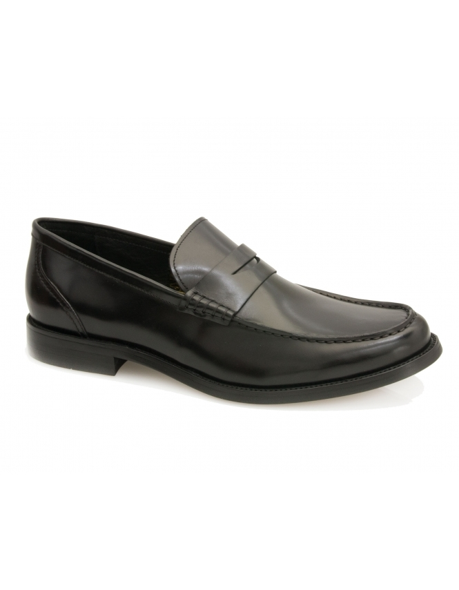 John White Wallace Calf Leather Loafer - Black