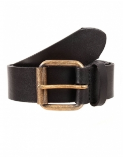 Waxed Leather Belt with Brass Buckle - Black