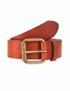 Waxed Leather Belt with Brass Buckle - Tan