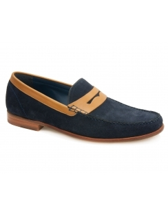 William Calf Leather Moccasin - Navy Suede Cedar Collar