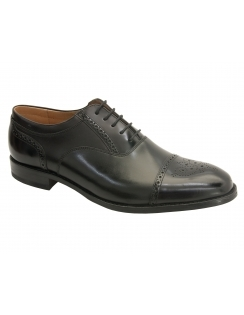 Woodstock Calf / Polished Semi Brogue - Black