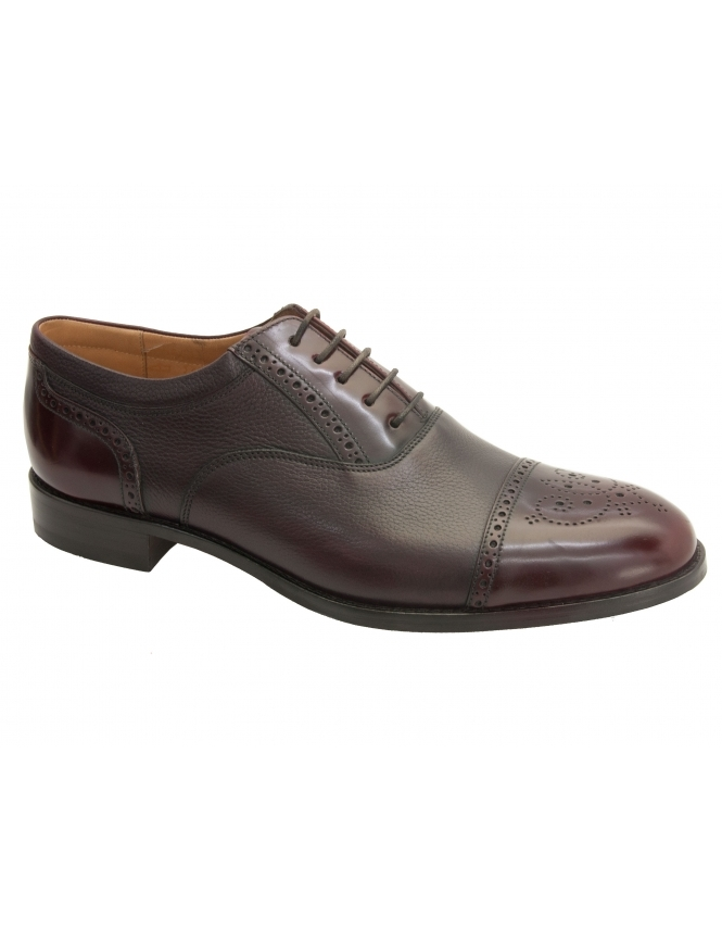 Loake Woodstock Grain Calf / Polished Semi Brogue - Burgundy