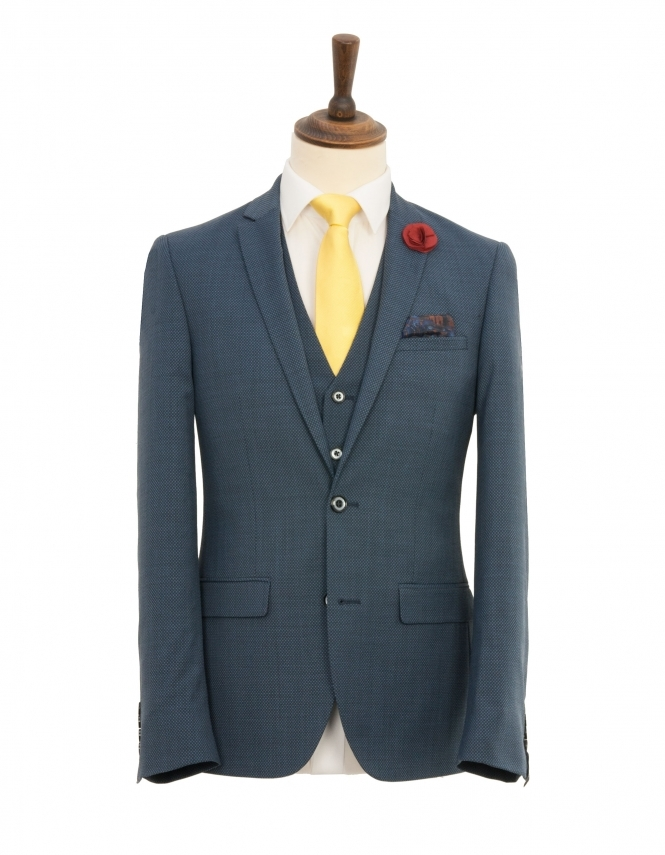Harry Brown Wool Rich 3 Piece Textured Slim Fit Suit - Blue