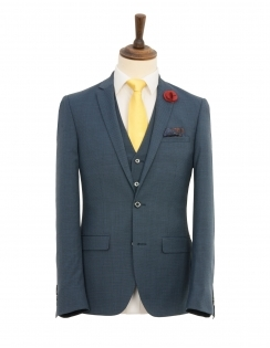 Wool Rich 3 Piece Textured Slim Fit Suit - Blue
