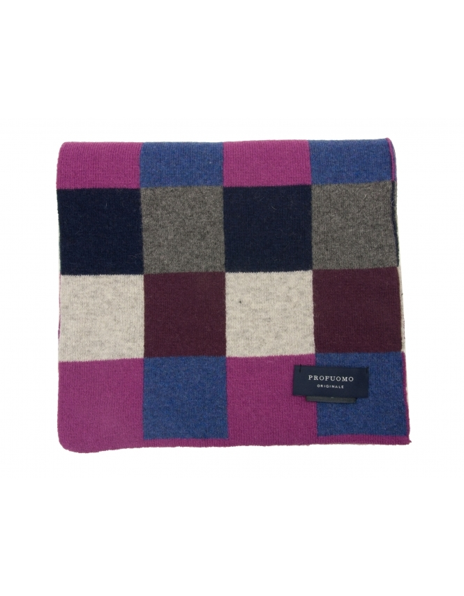 Profuomo Wool Rich Check Patterned Scarf - Navy & Purple