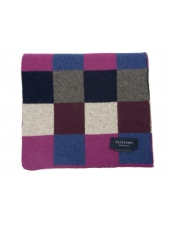 Wool Rich Check Patterned Scarf - Navy & Purple