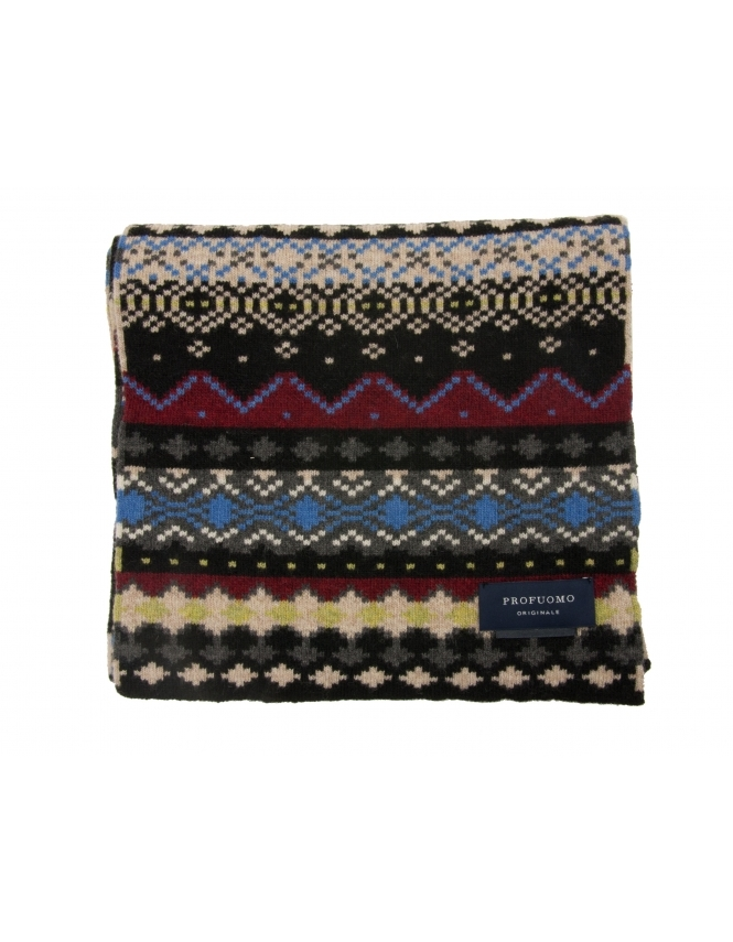Profuomo Wool Rich Fairisle Patterned Scarf - Black & Red