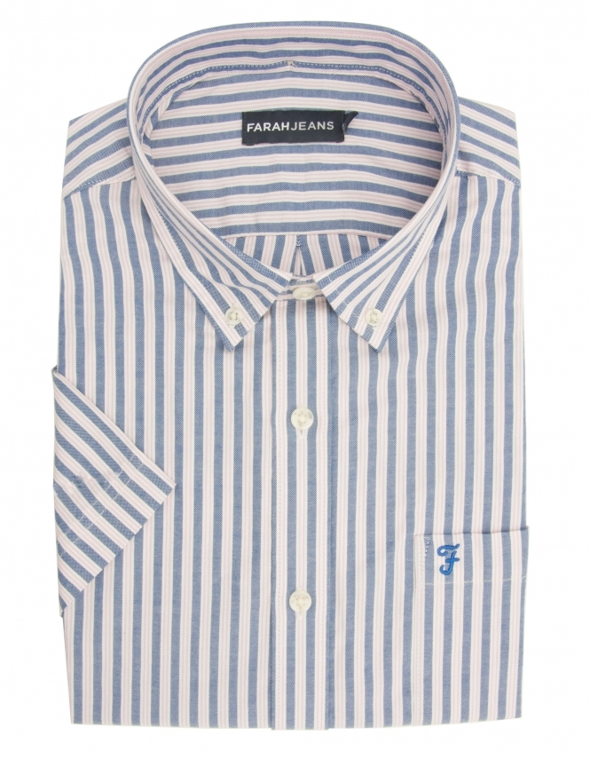 Farah Yardley Pure Cotton Half Sleeve Striped Shirt - Pink & Blue